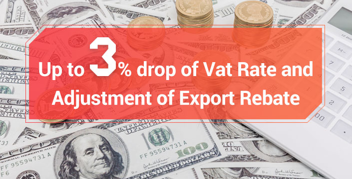 Up to 3% drop of Vat Rate and Adjustment of Export Rebate